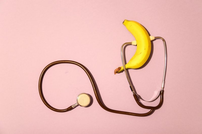 banana and stethoscope implying sexual health