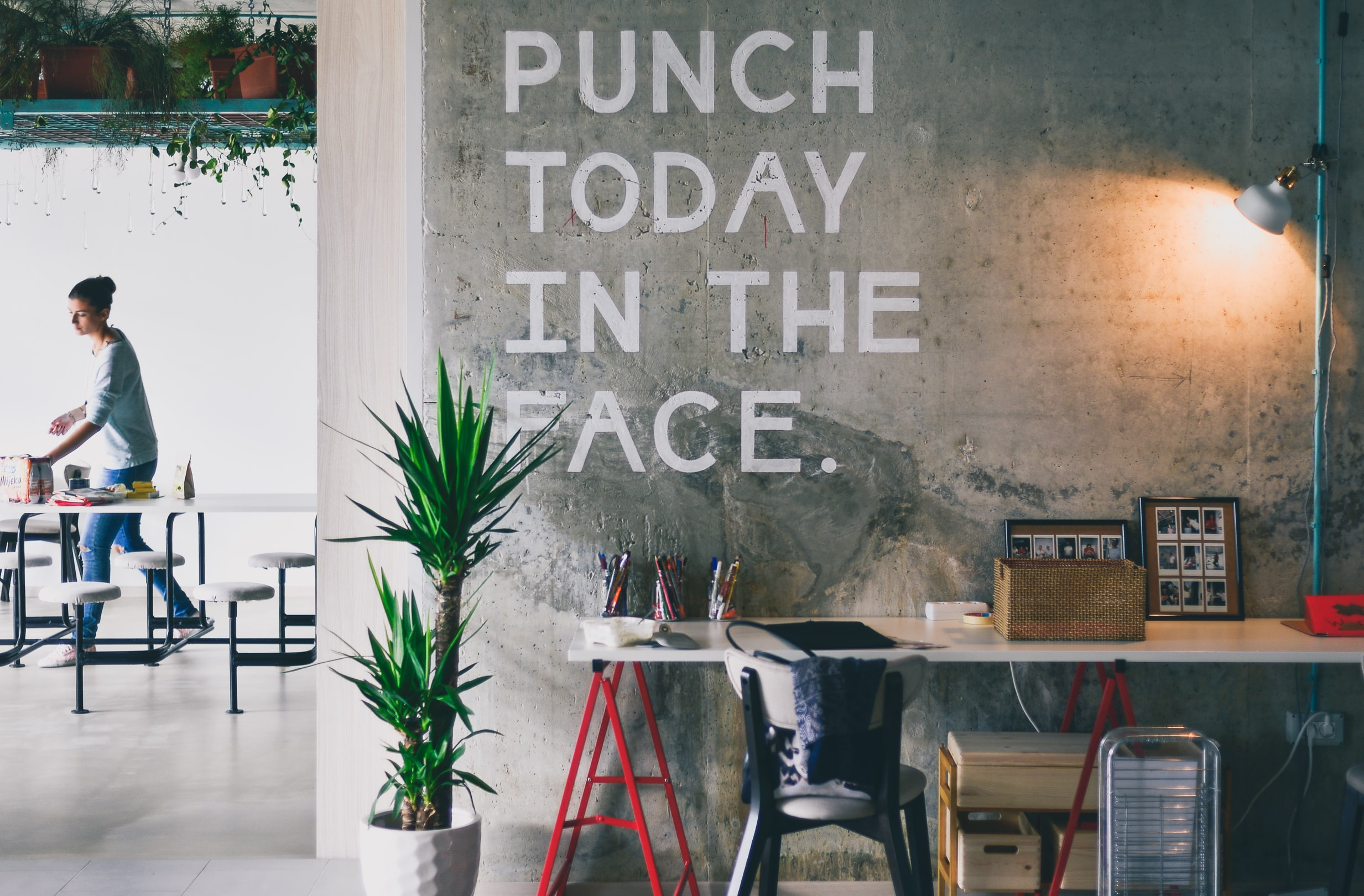paint slogan on the wall Punch Today in the Face